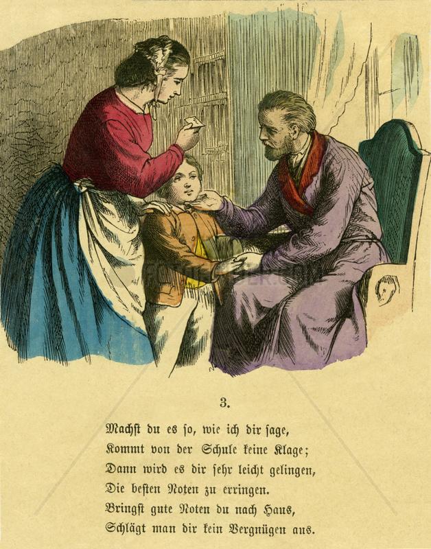 Kind wird fuer gute Schulnoten gelobt,  1867