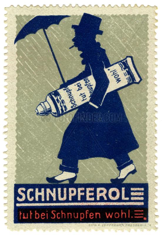 Schnupferol gegen Schnupfen,  Werbemarke,  1912
