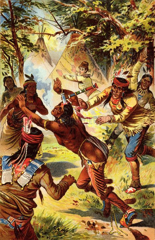 Indianer im Kampf,  Illustration Lederstrumpf,  um 1900