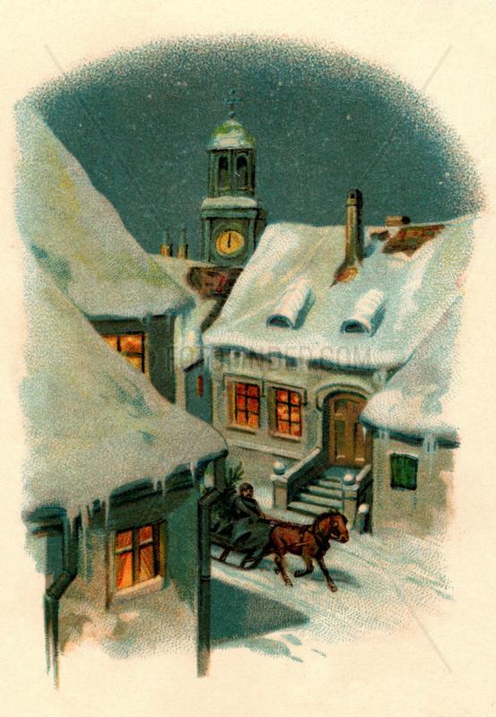 verschneites Dorf bei Nacht,  um 1907