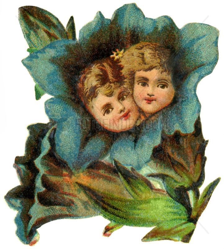 Blumen mit Kindern,  Poesiebild,  1895