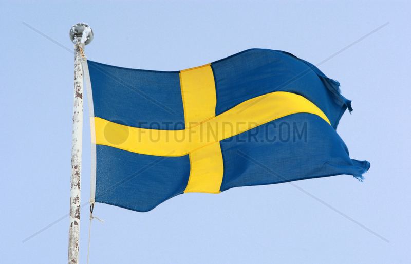 Saelen,  Schweden,  Nationalfahne von Schweden weht im Wind