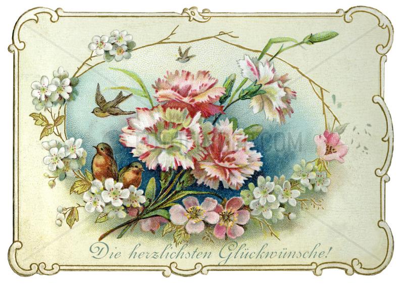 Die herzlichsten Glueckwuensche,  Glueckwunschkaertchen,  1899