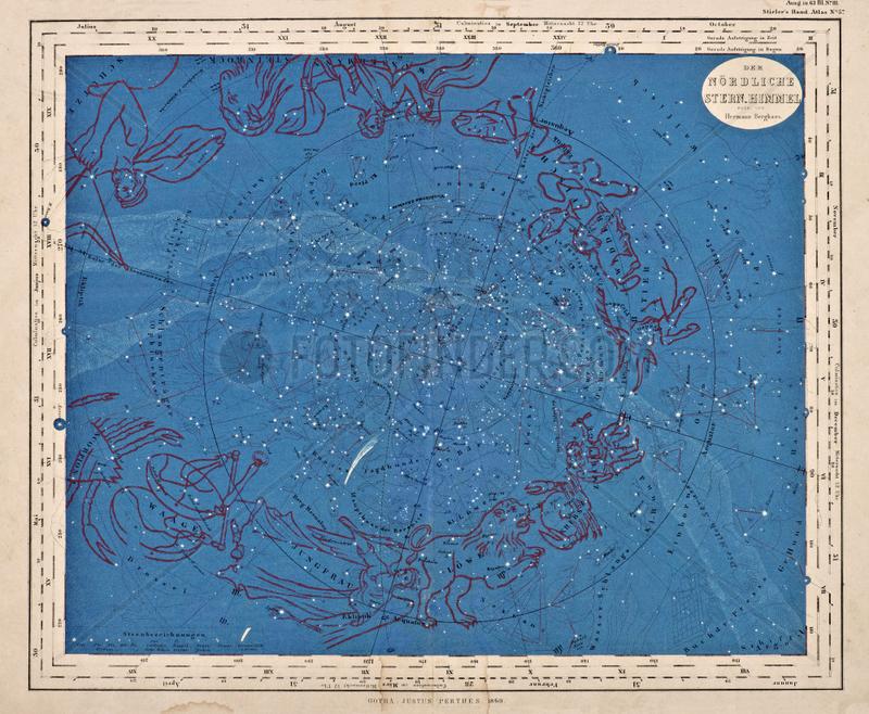 Noerdlicher Sternenhimmel mit Tierkreiszeichen,  1860