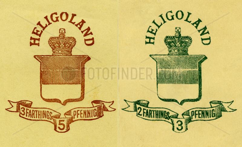 britische Gebuehrenmarke der Post,  Helgoland,  1880
