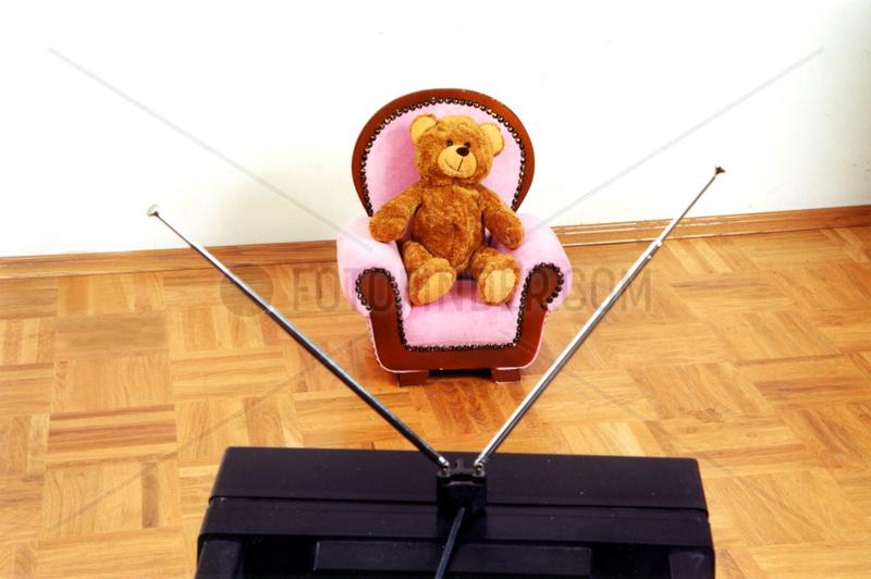Teddybaer fernsehen Stuhl Antenne
