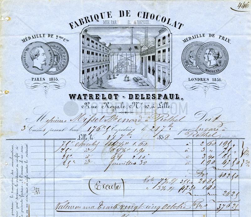 historische Rechnung,  franzoesische Schokoladenfabrik,  1858