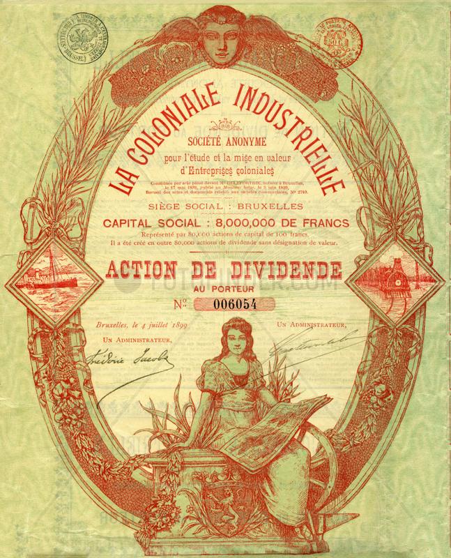 belgische Kolonialaktie,  1899