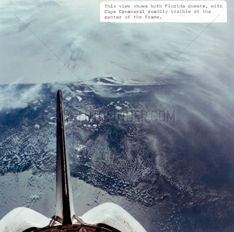 Cape Canaveral,  Florida,  seen from the Space Shuttle,  1980s.