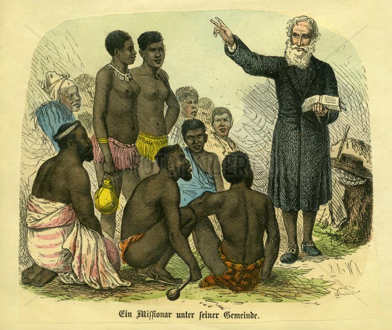 Weisser Missionar predigt den Eingeborenen in Afrika,  1870