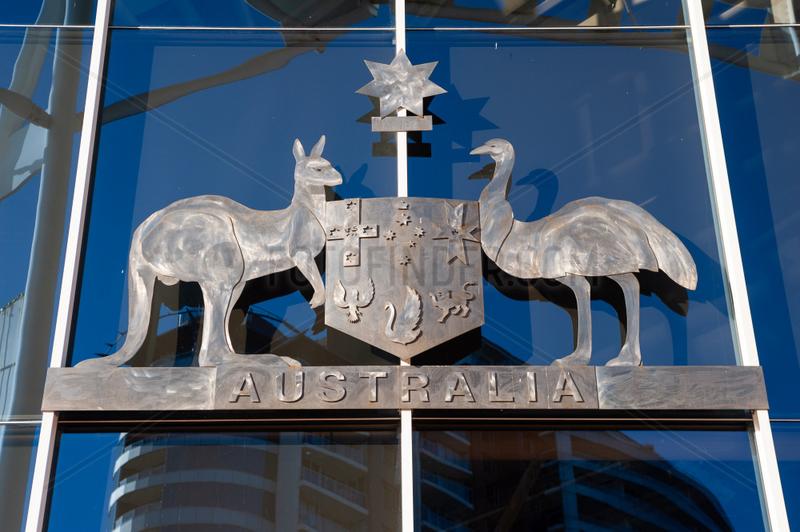 Sydney,  Australien,  Staatswappen von Australien mit Kaenguru und Emu