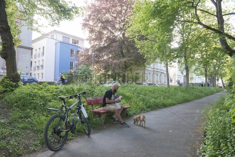Sitzen unter Baeumen,  Buergerhaeusern,  Wieseck
