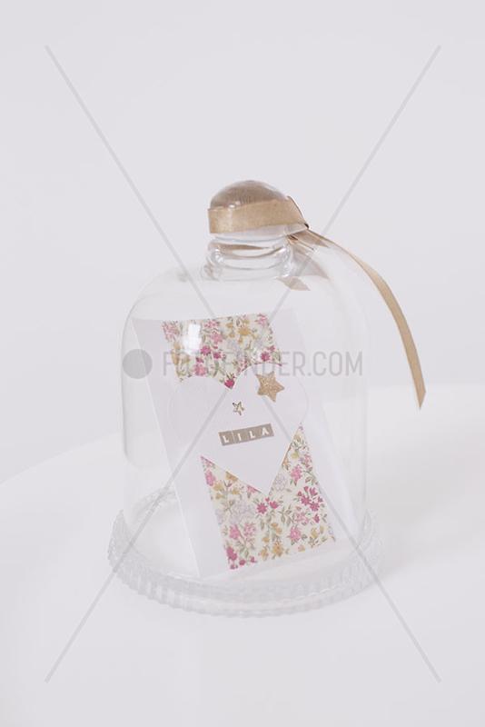 Decorative card in glass jar