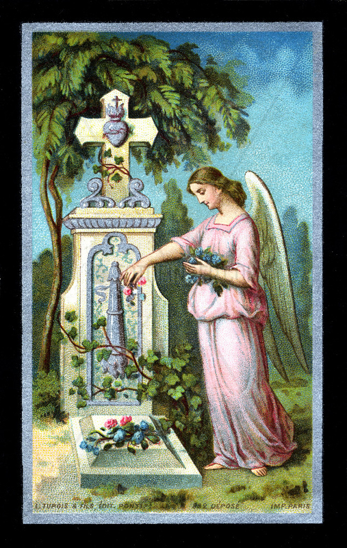 Engel am Grab,  franzoesischer Totenzettel,  1904