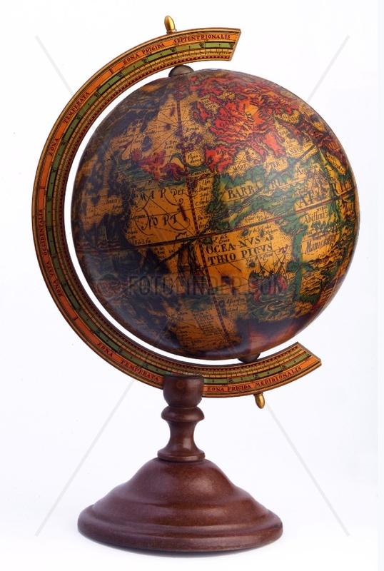 alter Globus,  Karte aus dem 16. Jahrhundert