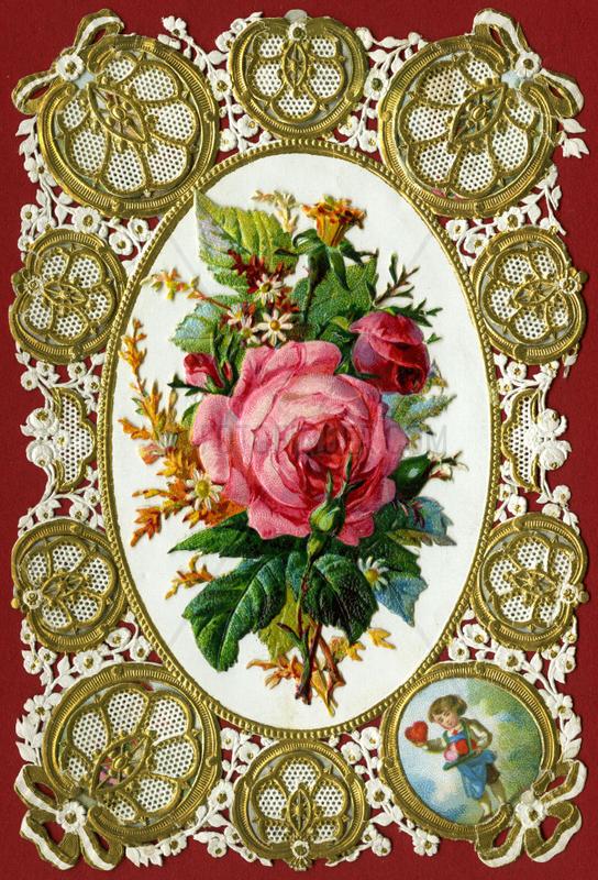 Kaertchen mit Rose und Glueckwuenschen,  1880