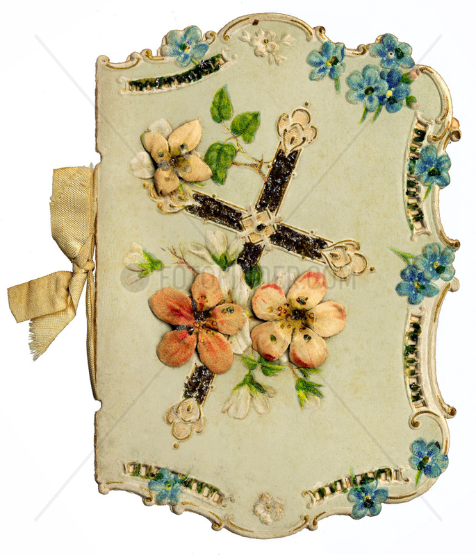 dekoratives Glueckwunschkaertchen,  um 1880