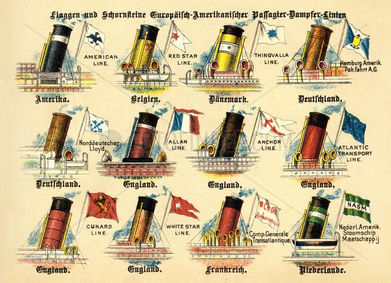 Flaggen und Schornsteine von Passagierdampfern,  1899