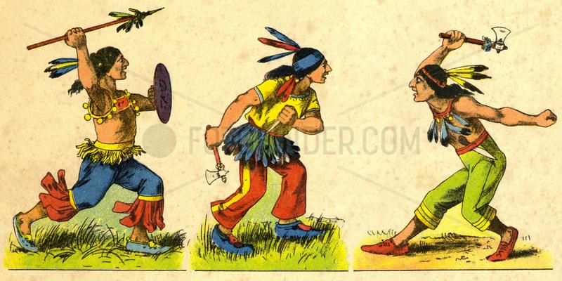 kampfende Indianer,  Pappfigur,  um 1908