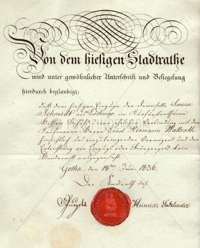 Urkunde,  Dokument,  Gotha,  1836