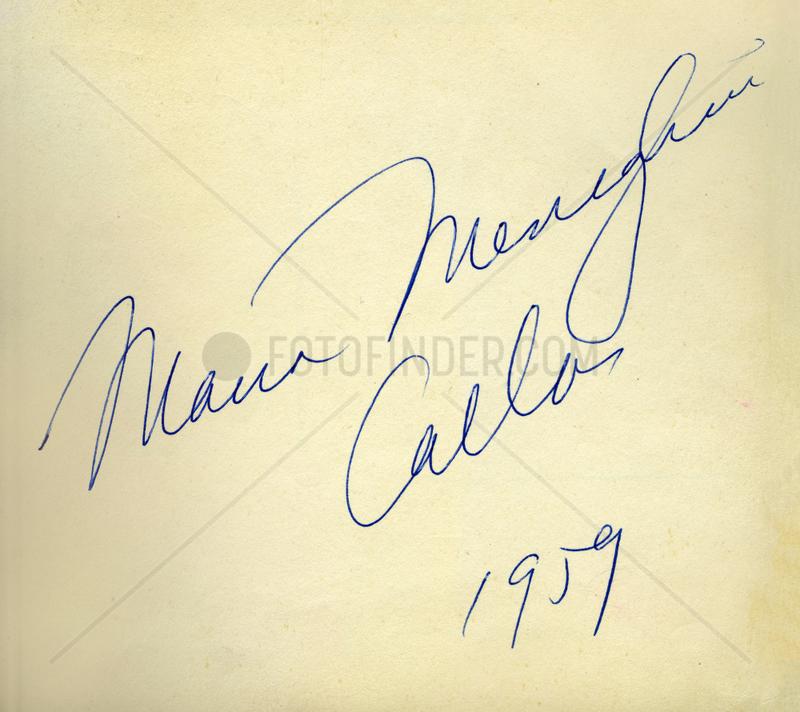 Maria Callas,  Opernsaengerin,  Autogramm,  1959