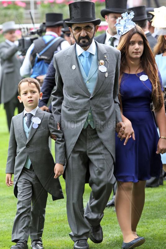 Royal Ascot,  Portrait of Sheikh Mohammed bin Rashid al Maktoum and his children Sheikh Zayed (left) and Sheikha Al Jalila