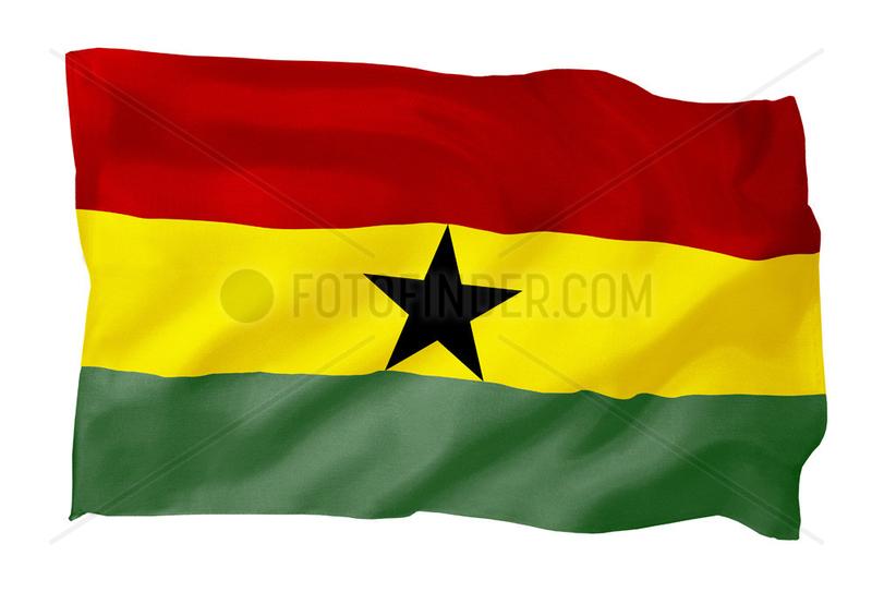 Fahne von Ghana (Motiv B; mit natuerlichem Faltenwurf und realistischer Stoffstruktur)