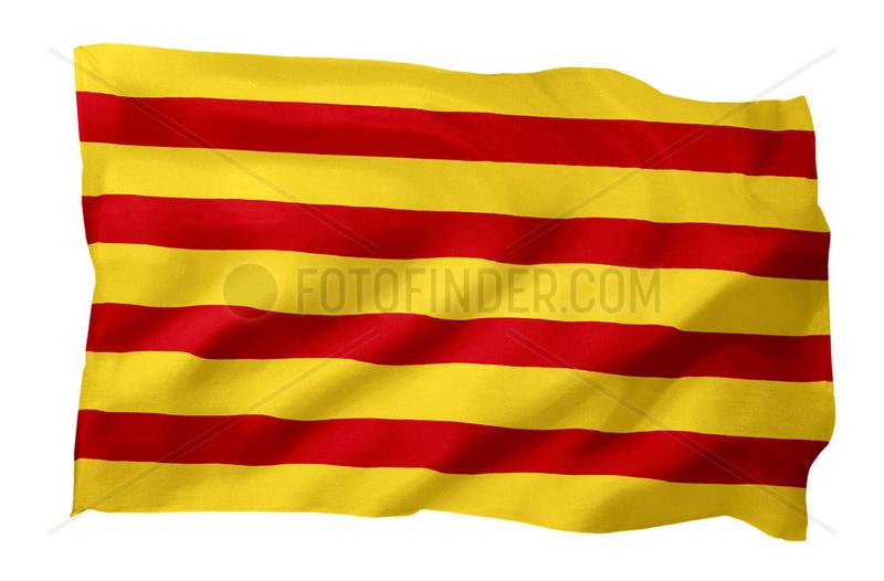 Fahne von Katalonien (Spanien; Motiv A; mit natuerlichem Faltenwurf und realistischer Stoffstruktur)