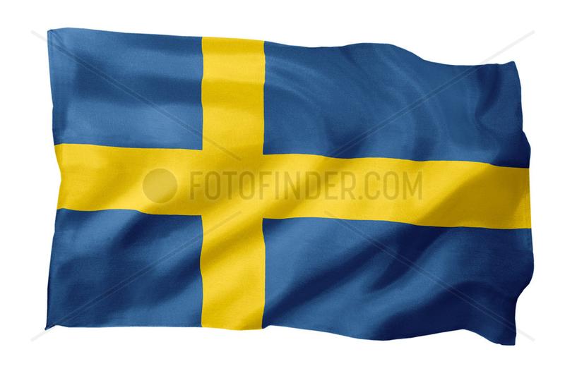 Fahne von Schweden (Motiv A; mit natuerlichem Faltenwurf und realistischer Stoffstruktur)