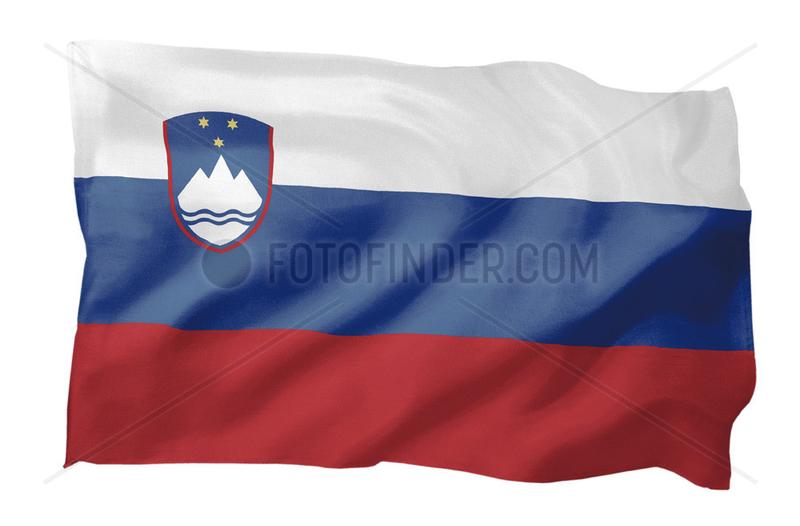 Fahne von Slowenien (Motiv A; mit natuerlichem Faltenwurf und realistischer Stoffstruktur)