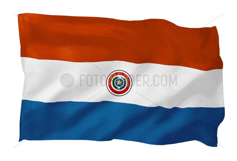 Fahne von Paraguay (Motiv B; mit natuerlichem Faltenwurf und realistischer Stoffstruktur)