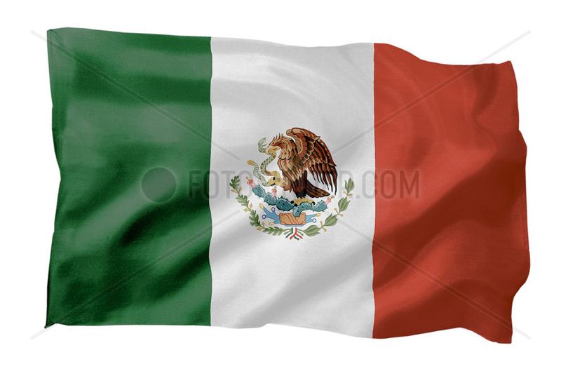 Fahne von Mexiko (Motiv A; mit natuerlichem Faltenwurf und realistischer Stoffstruktur)