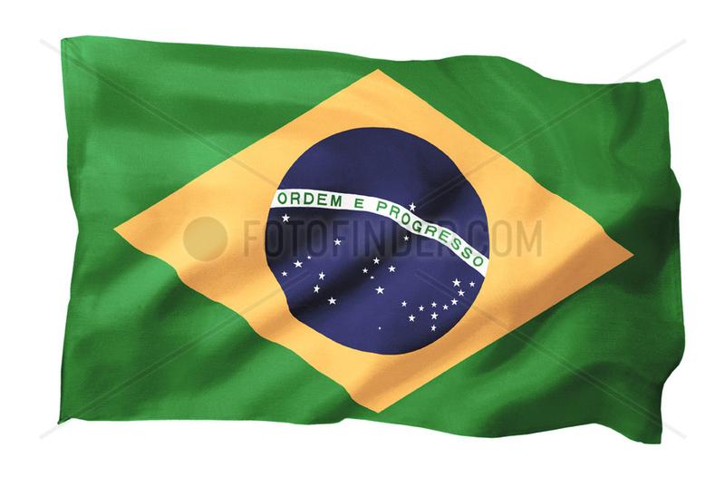 Fahne von Brasilien (Motiv A; mit natuerlichem Faltenwurf und realistischer Stoffstruktur)