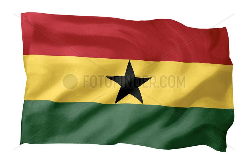 Fahne von Ghana (Motiv A; mit natuerlichem Faltenwurf und realistischer Stoffstruktur)