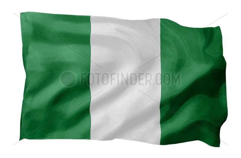 Fahne von Nigeria (Motiv A; mit natuerlichem Faltenwurf und realistischer Stoffstruktur)