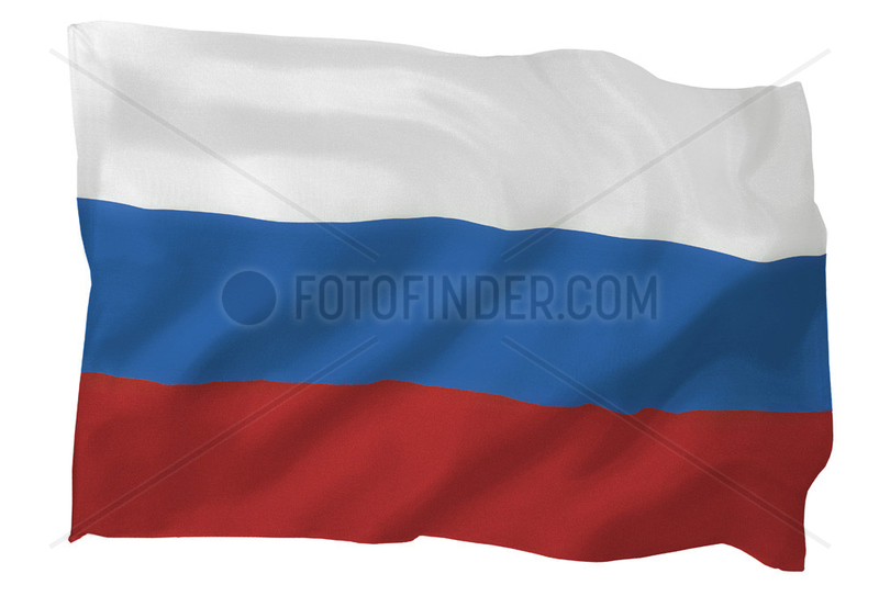 Fahne von Russland (Motiv B; mit natuerlichem Faltenwurf und realistischer Stoffstruktur)