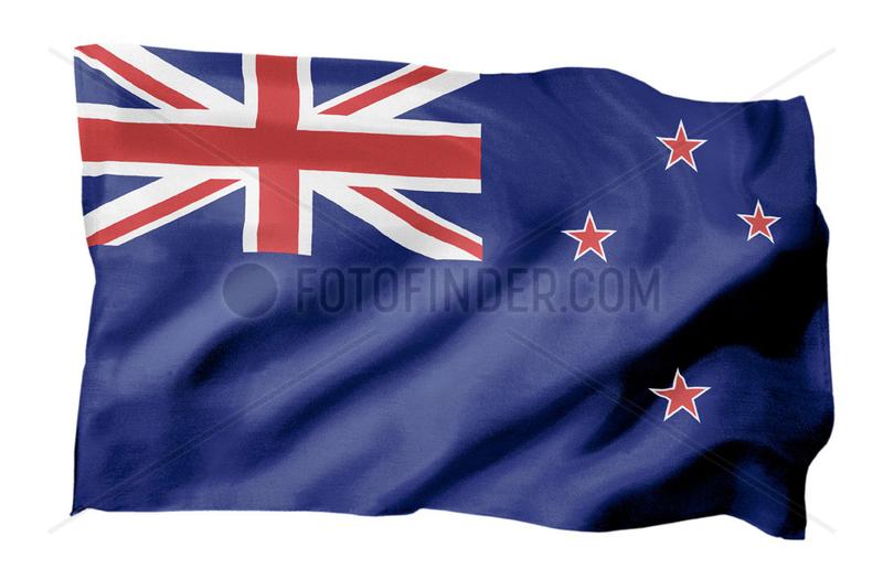 Fahne von Neuseeland (Motiv A; mit natuerlichem Faltenwurf und realistischer Stoffstruktur)