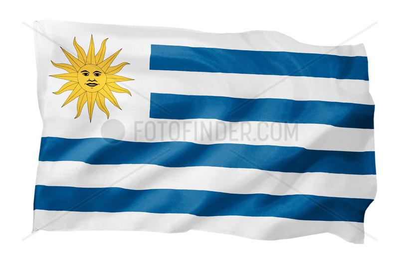 Fahne von Uruguay (Motiv A; mit natuerlichem Faltenwurf und realistischer Stoffstruktur)