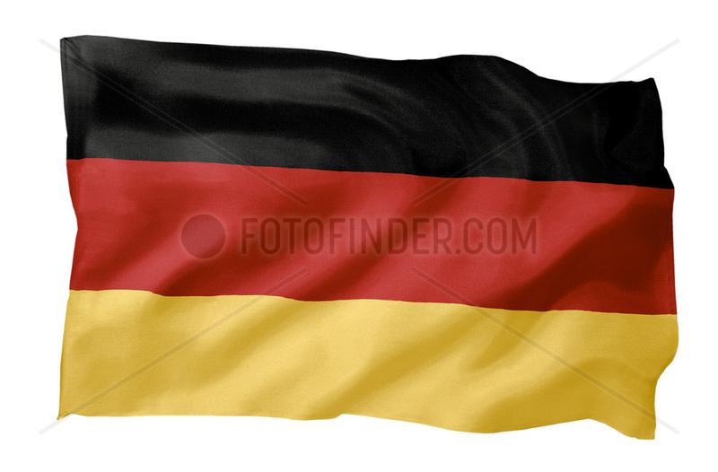 Fahne von Deutschland (Motiv A; mit natuerlichem Faltenwurf und realistischer Stoffstruktur)