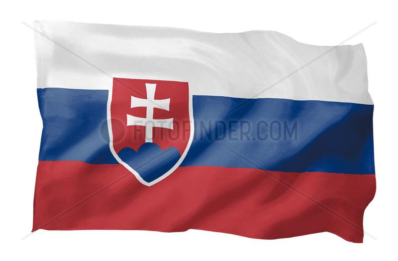 Fahne der Slowakei (Motiv A; mit natuerlichem Faltenwurf und realistischer Stoffstruktur)