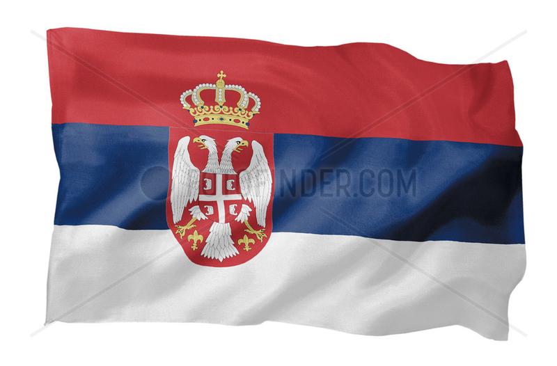 Fahne von Serbien (Motiv A; mit natuerlichem Faltenwurf und realistischer Stoffstruktur)