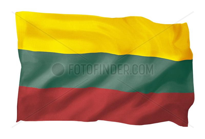 Fahne von Litauen (Motiv B; mit natuerlichem Faltenwurf und realistischer Stoffstruktur)