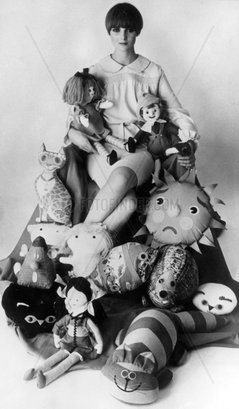Dolls and animal cushions,  December 1964.