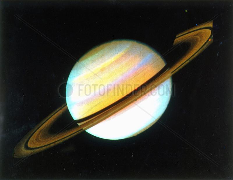 Colour-enhanced view of Saturn,  1980.