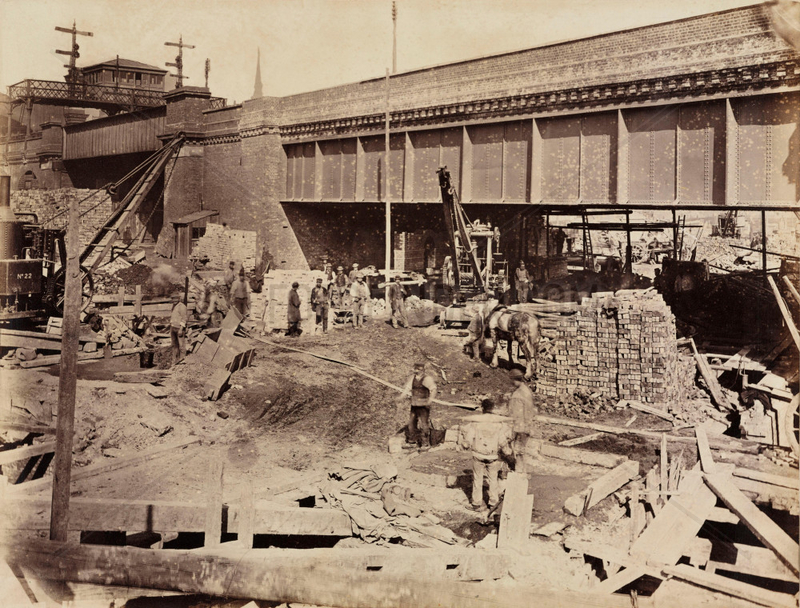 Construction of the Metropolitan District Railway,  Blackfriars,  London,  c 1869.