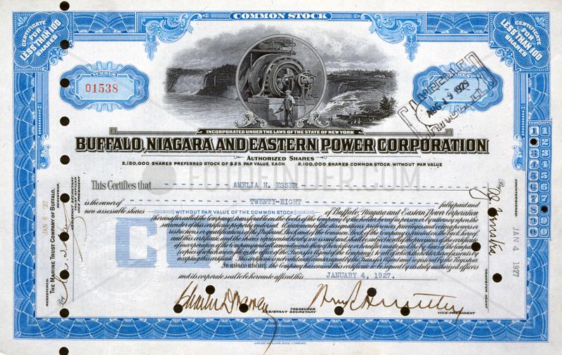 Share certificate,  1927.