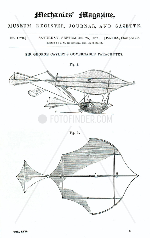 Cayley's man-carrying Glider,  1852.