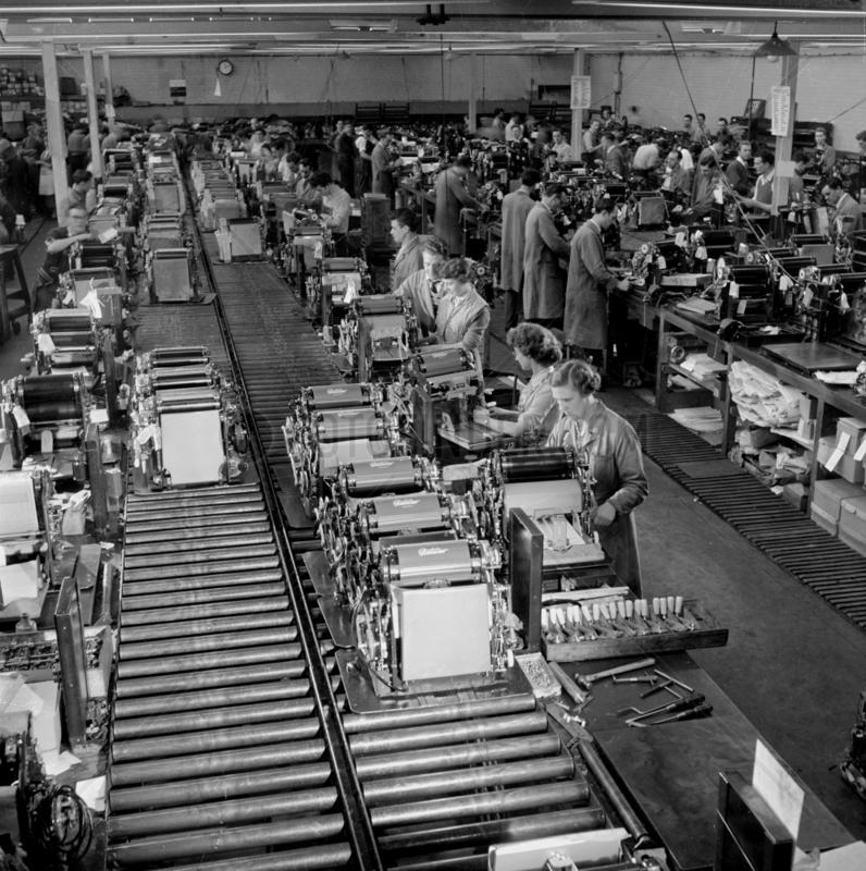 Gestetner duplicator machine assembly line,  Tottenham,  1957.