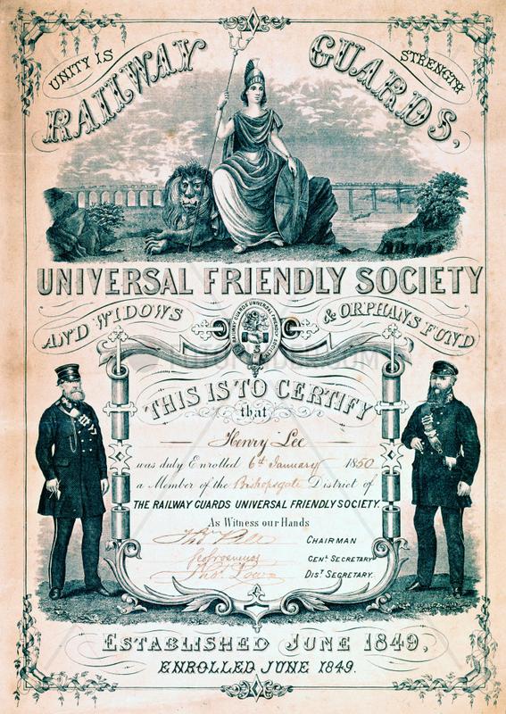 Railway Guards Universal Friendly Society membership certificate,  1850.