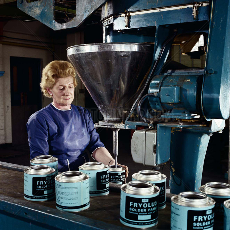 Filling tins of paint,  Fry's metal foundries,  1971.